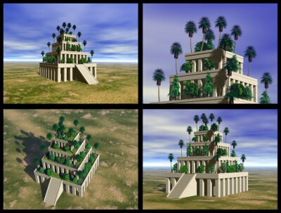 Plakat Wiszące Ogrody Babilonu. 3D rekonstrukcje.