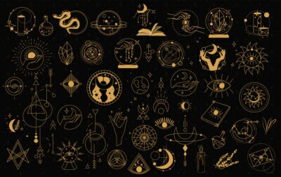 Plakat Witch Magic, Mystical and Astrology objects symbols. Doodle esoteric, boho mystical hand drawn elements. Magic and witchcraft, witch esoteric alchemy. Isolated Minimalistic objects.Vector illustration