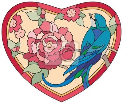 W Ultra Plakat Witraż Ptaki kwiaty serca na wymiar • różowy, tło, lato FE66