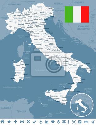 Plakat Włochy - mapę i flaga - ilustracji