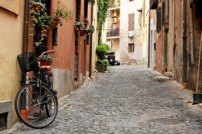 Plakat Włochy, ulica z roweru i kwiaty w Rzymie