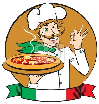 Plakat Włoski kucharz z pizzy