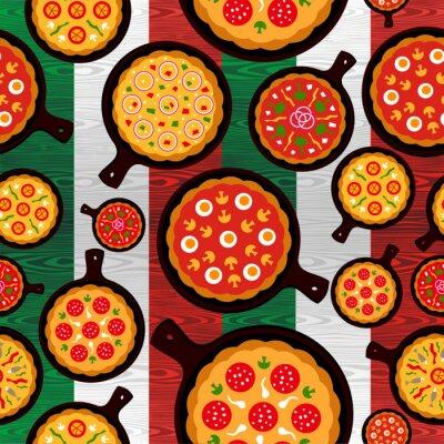 Plakat Włoski wzór smaki pizzy