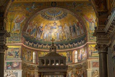 Plakat Wnętrze Bazyliki Santa Maria in Trastevere, Rzym. Włochy