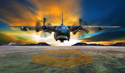 Plakat wojskowy samolot do lądowania na wybiegach lotnictwo przeciwko pięknej DUS