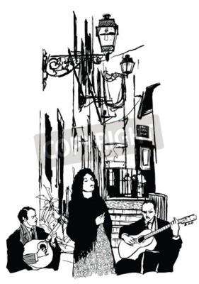 Plakat Wokalista Fado i gitarzystów w Alfama Lizbonie - ilustracja wektorowa