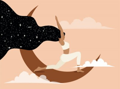 Plakat Woman doing yoga on the Moon. Conceptual illustration for yoga class promotion banner or poster or social network promotion. Trendy pastel colored vector illustration.