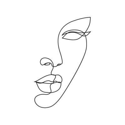 Plakat Woman face line drawing art. Abstract minimal female face icon, logo
