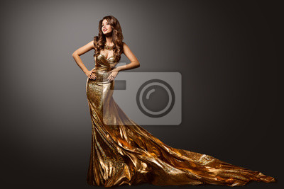Plakat Woman Gold Dress, Fashion Model Gown with Long Tail Train, Young Girl Beauty Portrait