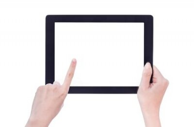Plakat Woman hand holding a black tablet with white screen isolated on white background