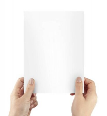 Plakat Woman hands holding blank paper sheet A4 size or letter paper isolated on white background. With cliping path elements