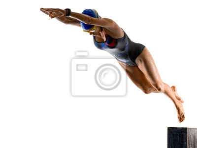 Plakat woman sport swimmer swimming isolated white background
