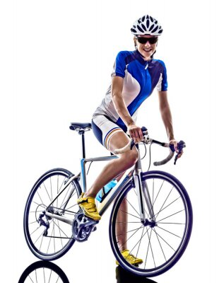 Plakat woman triathlon ironman athlete cyclist cycling