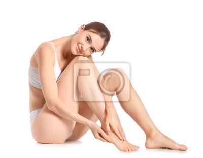 Plakat Woman with beautiful legs after depilation on white background