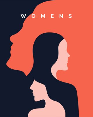 Plakat women's day campaign poster background design with two long hair girl with face silhouette vector illustration.
