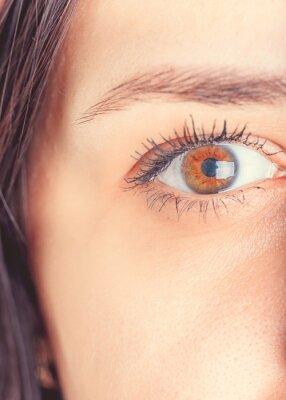 Women's eyes without makeup and makeup, with a lens on the eyeball. Photo eyes macro
