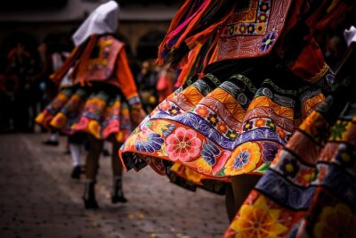 Plakat Women Wearing Traditional Clothing While Dancing On Footpath