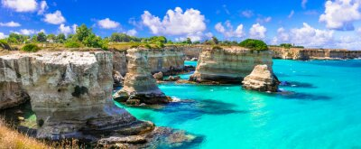 "Plakat Wonderful sea scenery in Puglia. ""Torre di Sant Andrea"" - famous rock formations near Otranto. Italy"