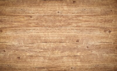 Plakat Wood texture background. Top view of vintage wooden table with cracks. Light brown surface of old knotted wood with natural color, texture and pattern.