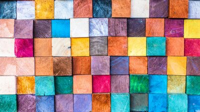 Plakat Wood texture block stack on the wall for background, Abstract colorful wood texture.