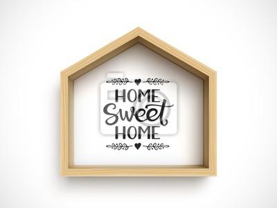 Plakat Wooden house frame on white background. Real estate symbol