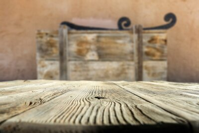 Wooden table of free space and blurred background