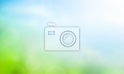 Plakat World Environment Day concept: Abstract blurred beautiful green and blue sky  background