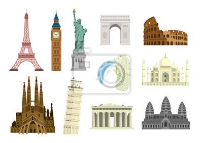 Plakat World famous buildings vector illustration set ( world heritage ) / Statue of liberty, Eiffel tower, Sagrada Familia etc.