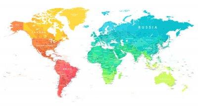 Plakat World Map Color Bright Political - Vector Detailed Illustration