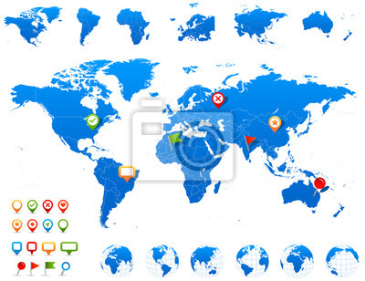 World Map, Globes and Navigation Icons - illustration.Vector illustration of World map and navigation icons.