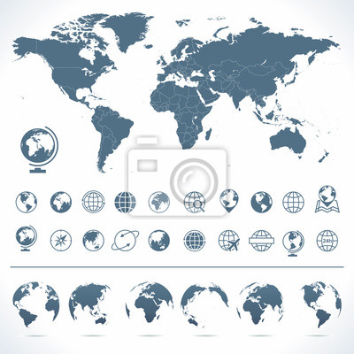 Plakat World Map, Globes Icons and Symbols - Illustration.Vector set of world map and globes.