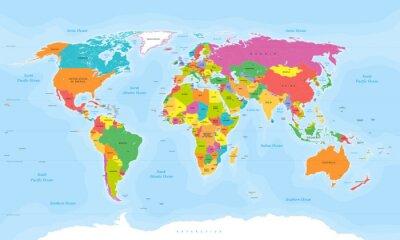 Plakat World map wektorowych. Etykiety English / US