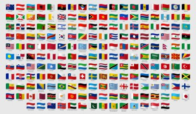 Plakat World national waving flags. Official country signs with names, countries flag banners. International travel symbols, geography or language lesson flags emblem. Isolated vector signs set