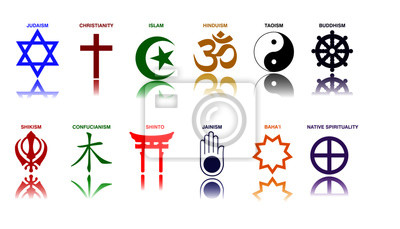 Plakat world religion symbols colored signs of major religious groups and religions. easy to modify