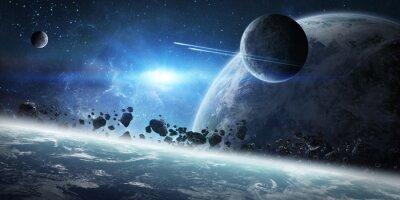 Plakat Wschód słońca nad grupą planet w przestrzeni kosmicznej