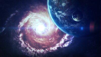 Plakat Wszechświat sceny z planet, gwiazd i galaktyk w kosmosie ukazujących piękno przestrzeni kosmicznej. Elementy dostarczone przez NASA