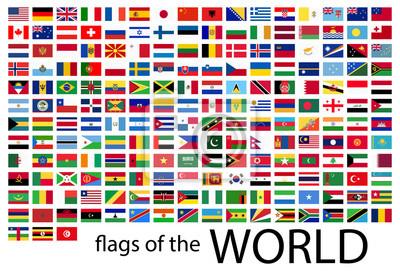 Plakat wszystkie flagi państwowe świata
