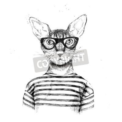 Plakat Wyciągnąć rękę przebrany hipster kot na białym tle