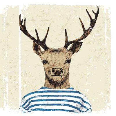 Plakat Wyciągnąć rękę przebrany jelenia