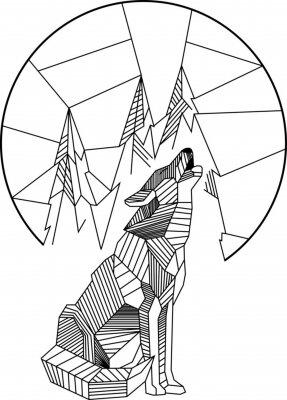 Plakat Wycie Wolf Geometric
