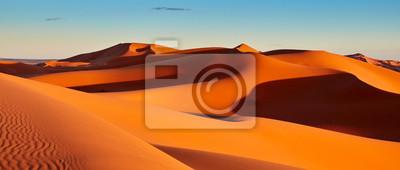 Plakat Wydmy piaszczyste na Saharze, Merzouga, Maroko