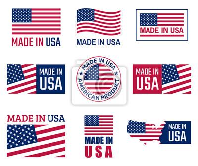 Plakat wykonane w zestawie etykiet USA, godło amerykańskiego produktu