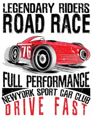 Plakat Wyścig samochodów sportowych. Samochód do drukowania old.vector plakat wyścigu szkoły.