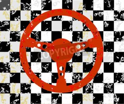 Plakat Wyścigi koła kierownicy grunge tle