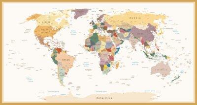 Plakat Wysoce Szczegółowe polityczne Mapa świata Vintage Kolory