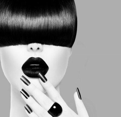 Plakat Wysoka modelka Dziewczyna Czarno-biały portret