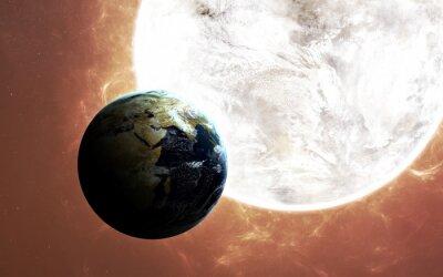 Plakat Wysoka rozdzielczość widoku Ziemi. World Globe z kosmosu w polu gwiazdy pokazując teren i chmury. Elementy tego zdjęcia dostarczone przez NASA są