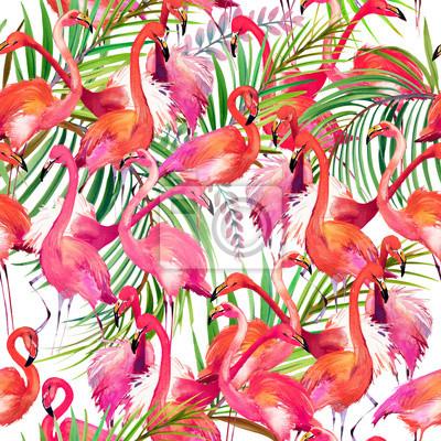 Plakat wzór akwarela flamingo