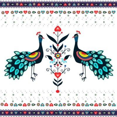 Plakat Wzór haftu z pawiami