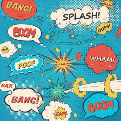 Plakat Wzór komiks dymki w stylu pop